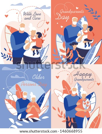 Informational Banner with Love and Care Lettering. Poster Inscription Grandparents Day, Older Persons Day, Happy Grandparents. Grandfather Hugs Wife, Grandmother Holds Grandson in her Arms.