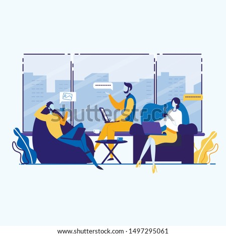 Informational Flyer Commodity Policy Cartoon Flat. Creating Positive Public Opinion Regarding Specific Individuals. Men and Women have Rest During Lunch Break. Vector Illustration.