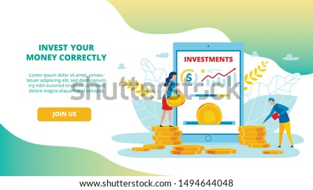 Informational Flyer Invest Your Money Correctly. Banner Setting Up and Managing Targeted Ads. Application for Investment. People Put Gold Coins into Business Cartoon. Vector Illustration.