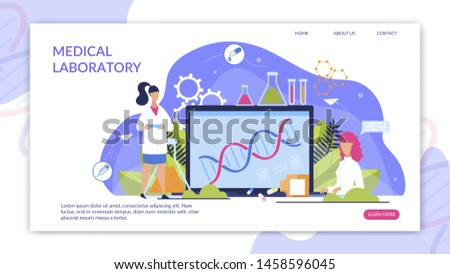 Informational Flyer Medical Laboratory Lettering. Health Workers Will Explore Genetic Makeup to Create New Drugs. Data Exchange between Scientists Genetics Cartoon. Vector Illustration.
