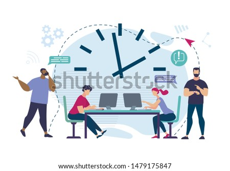 Informational Flyer Meeting Deadlines Cartoon. Men Messaging Over Phone. Employees Work in Office For Laptops. Order in Office, with Variety Business Interests. Vector Illustration.