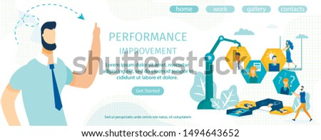 Informational Flyer Performance Improvement Flat. Discussing Expected Work Requirements and Meeting Deadlines for Tasks Set. Man Directs Efforts Employees in Teamwork with Honeycombs.