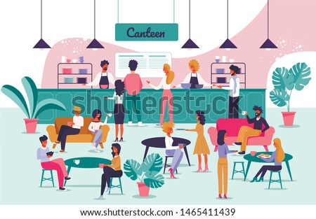 Informational Flyer Signboard Canteen Cartoon Flat. Modern Dining Room at Work. People Order and Eat Food During Lunch. Men and Women have Lunch and Rest Dining Room. Vector Illustration.