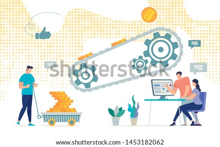 Informational Flyer Successful Mining Gold Coins. Conceptual Idea Methods and Ways to Generate Virtual Income. Man Loaded Cart with Coins from Conveyor. People Sit at Computer. Vector Illustration.