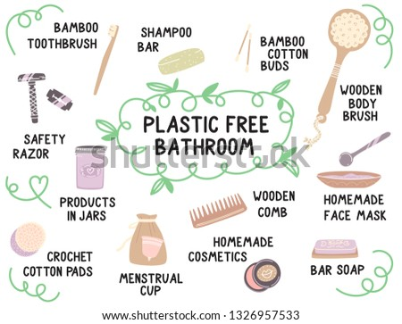 Informational poster about plastic free body care. Zero waste life cute vector cartoon illustration.