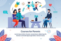 Informational Poster Courses for Pregnant Flat. Happy Husband and Wife are Sitting in Speakers Office and Dreaming Future Children. Married Couple Listens to Male Family Specialist.