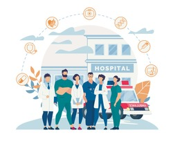 Informational Poster Hospital Staff Cartoon Flat. People in White Coats Working in Hospital. Men and Women Practicing Ambulatory Specialists for Area Medical Center. Vector Illustration