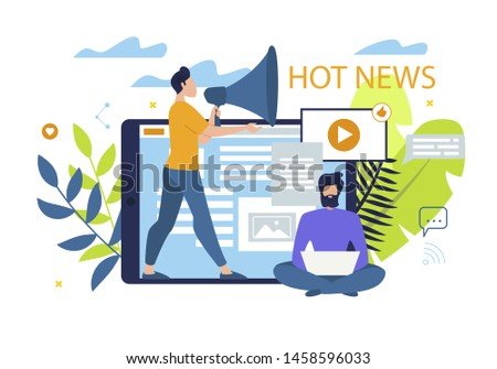 Informational Poster is Written Hot News Flat. Young Man Tells News to Loudspeaker. Guy is Sitting with Laptop and Makes Up Interesting Content for Online Edition. Vector Illustration. Photo stock ©
