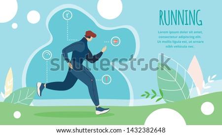 Informational Poster is Written Running Cartoon. Flat Summer Sport Athletics, Running Discipline. Man Runs Distance. Exercises that Develop Agility and Endurance. Vector Illustration.