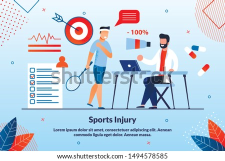 Informational Poster Sports Ingury Lettering. Laboratory Research Methods Male Athlete with Tennis Racket Complains Shoulder Pain, Doctor Listens Cartoon Flat. Vector Illustration.