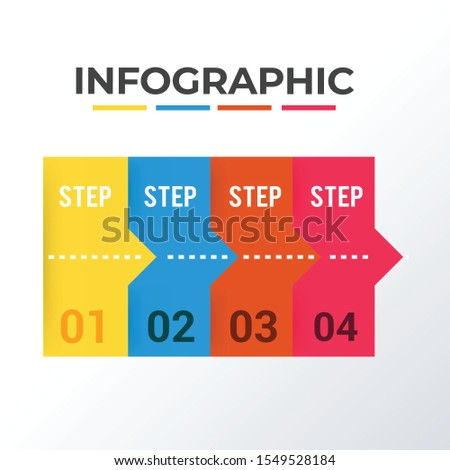 Informational processed infographic template design. Business concept infograph with 4 options, steps or processes. Vector visualization can be used for workflow layout, diagram, annual report, web