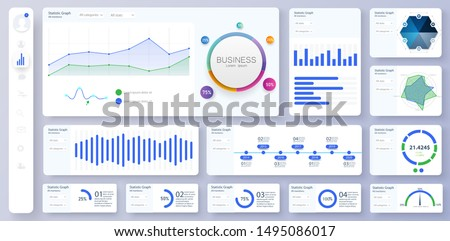 Informative and simple dashboard. Colorful infographics template for business and other projects. Admin panel interface with color charts, graphs, 3D infographics. Vector