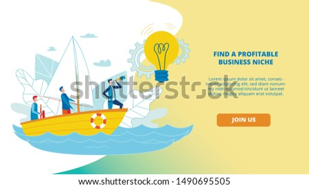 Informative Banner Find Profitable Business Niche. Poster Demographic Audience Data. Flyer Expedition on Water, Men Float in Boat in Direction Light Bulb Cartoon. Vector Illustration.