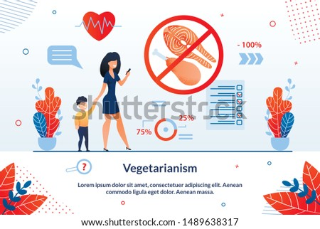 Informative Banner Inscription Vegetarianism. Effective Methods for Prevention Even Chronic Diseases. Woman with Child Uses Application for Food Selection Cartoon. Vector Illustration.
