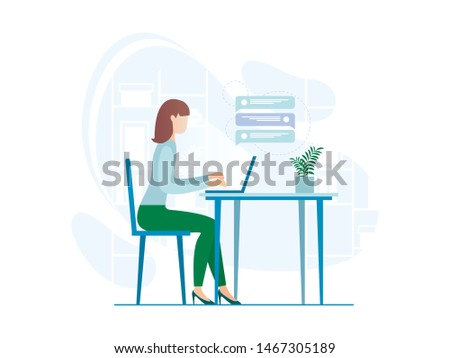 Informative Banner Relationship Through Messages. Poster Degree Comfort in Working Relationships. Advertising Flyer Girl Sits at Table and Writes Messages with Laptop. Vector Illustration.