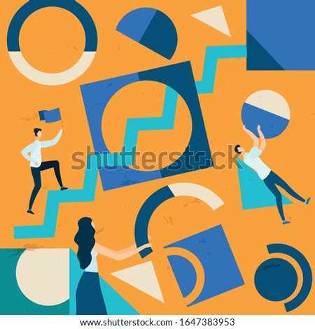 Informative Banner Road to Goal Cartoon Flat. Poster Problem Communication Interfering with Improvement Indicators. Flyer People Make Up Geometric Cartoon Flat. Vector Illustration.