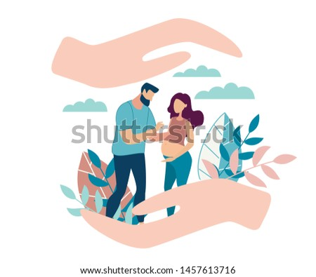 Informative Flyer Female Reproductive Health. Banner Family is in Caring Hands. Future Father Shows Future Mother Document. Pregnant Wife and Husband Stand in Park. Vector Illustration.