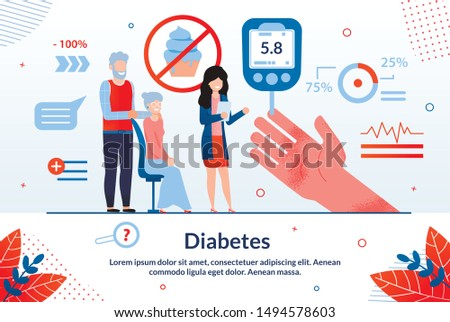 Informative Flyer Inscription Diabetes Cartoon. Medical Methods Using Characteristic Biochemical Features Studied Organism. Mature Husband and Wife Take Sugar Test in Laboratory Flat.