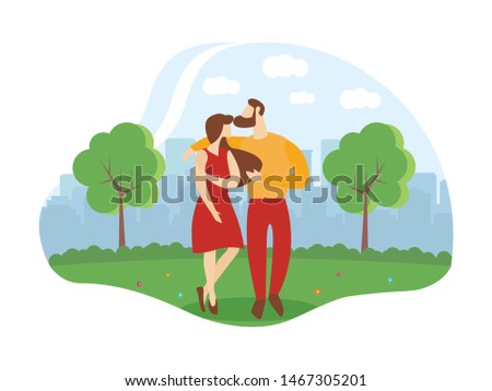 Informative Flyer Romantic Relationship Cartoon. Relationships are in Many Ways Similar People who Understand Each other Very Well.  Husband and Wife are Standing in Embracing in Park.