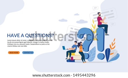 Informative Poster Inscription have a Questions? Office Organizational Needs. Vector Illustration. Guy with Girl Looking for Information on Subject in Laptop and Smartphone. E-library.
