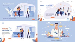 Informative Poster Inscription Online Doctor. Set Banner is Written Family Doctor, Pediatrician Healthy Childhood, Time to Vaccination.  Family Turned to Family Doctor for Help. Vector Illustration.