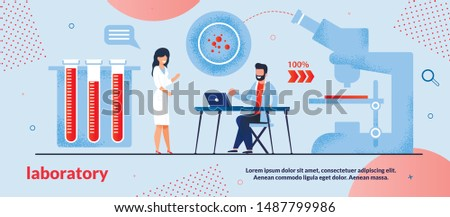 Informative Poster is Written Laboratory Flat. Set Methods Aimed at Analysis Studied Material. Man and Woman are Working in Laboratory, Near Large Microscope and Test Tubes with Blood.