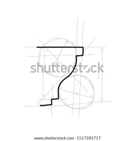 Informative poster sketch moulding hand drawn. Gives surface more expressive and neat look. Decorative part in form laid-on convex plank for decorating various surfaces. Vector illustration.