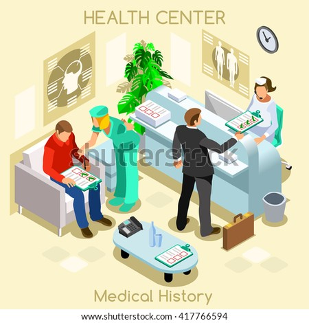 Informed Consent Medical Clinic Hospital Health Center Patient medical history wait room dental care medical visit. 3D Isometric Hospital clinic reception patient wait vector doctor nurse illustration