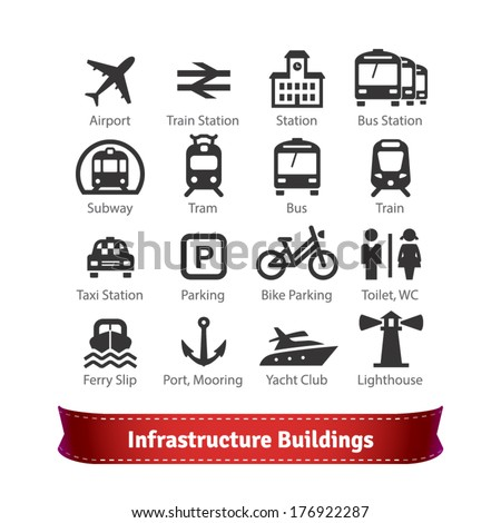Infrastructure Buildings Icon Set. Road and Water City Transportation Stations and Parking Signs. For Use With Maps and Internet Services Interfaces.