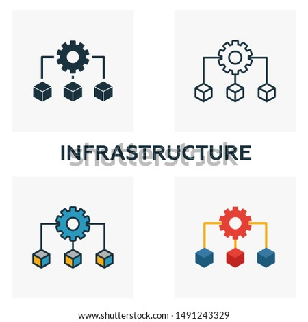 Infrastructure icon set. Four elements in different styles from community icons collection. Creative infrastructure icons filled, outline, colored and flat symbols.