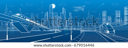 Infrastructure transportation panoramic. Railway bridge. Trains rides. Towers and skyscrapers. Urban scene, modern city on background, industrial architecture. White lines, vector design art