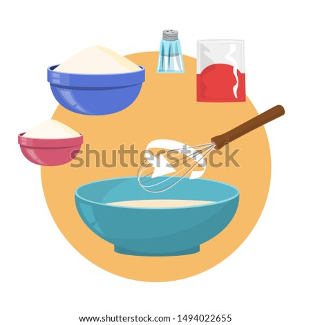 Ingredients for baking homemade bread. Flour and yeast, salt ingredient. Preparation of dough. Vector illustration in flat style