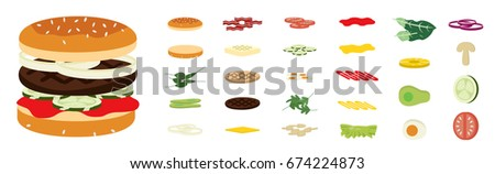Ingredients for Burgers, Hamburgers, Sandwiches.