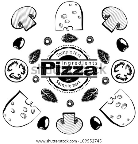 Ingredients for pizza with mushrooms. Vector illustration in the engraving style, can be used for design labels and package