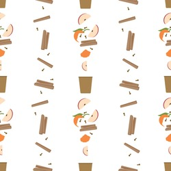 Ingredients of mulled wine on apple. Seamless vector pattern. It can be used for any print.