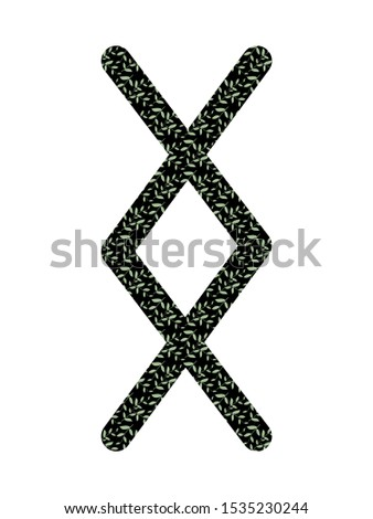 Inguz. Ancient Norse Fleece Futhark. Used in magic scripts, amulets, fortune telling. Scandinavian and Germanic writing. White background