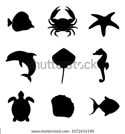 Inhabitants of the ocean. Marine life icons set. Sea life set of silhouettes. Vector illustration.