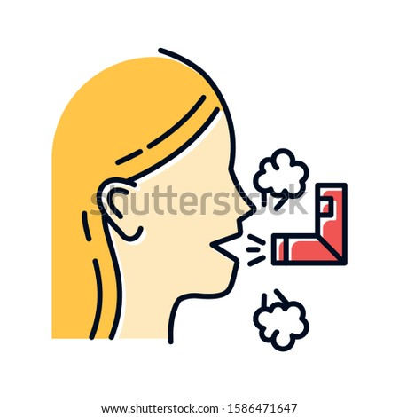 Inhalation color icon. Respiratory illness treatment. Illness aid. Asthma help. Breathing problem cure. Sick girl with sprayer. Healthcare. Common cold. Isolated vector illustration