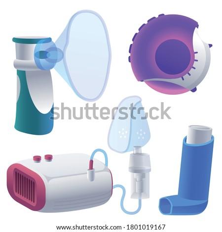Inhaler icons set. Cartoon set of inhaler vector icons for web design Stock photo ©