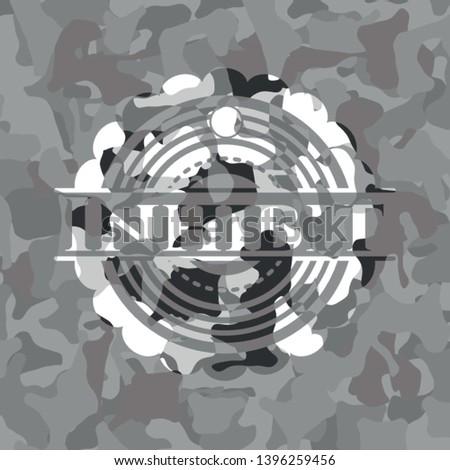 Inhibit grey camouflaged emblem. Vector Illustration.