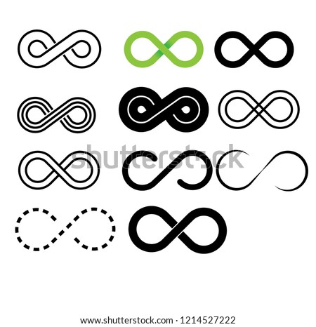 Inifinity Symbol Icons Set Vector Illustration