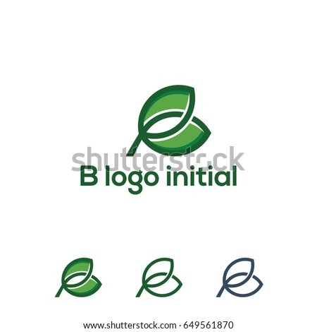 initial B logo with leaf icon