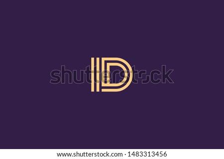 Initial based clean and minimal Logo. DI ID D II letter creative technology monogram icon symbol. Universal elegant luxury alphabet vector design Foto d'archivio ©