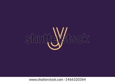 Initial based clean and minimal Logo. JV VJ J V letter creative monochrome monogram icon symbol. Universal elegant luxury alphabet vector design Stock fotó ©