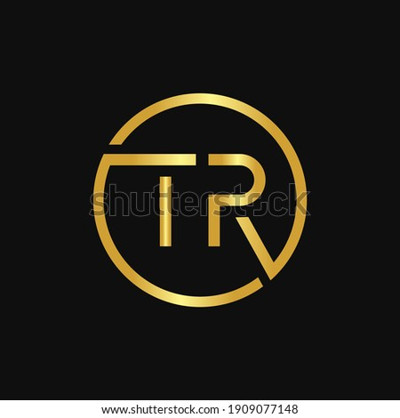 Initial Circle TR Letter Logo Design With Creative Gold Typography Vector Illustration Stock fotó ©