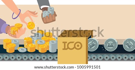 Initial coin offering, ICO Token production process vector illustration. Token sales in exchange for bitcoin, ethereum. Hands with bitcoin and ethereum. IT startup crowdfunding.