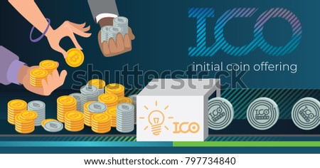 Initial coin offering, ICO Token production process vector illustration. Token sales in exchange for bitcoin, ethereum. Hands with bitcoin and ethereum. IT startup crowdfunding. Blockchain technology.