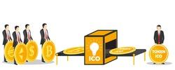 Initial coin offering or ICO token exchange concept vector illustration. Token sales in exchange for bitcoin, ethereum, dollar, euro.