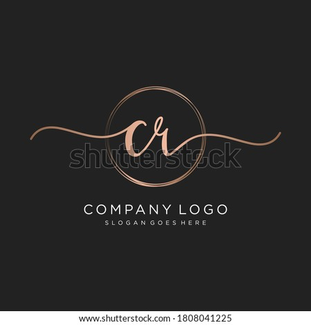 Initial CR beauty monogram and elegant logo design, handwriting logo of initial signature, wedding, fashion, floral and botanical with creative template. Photo stock ©