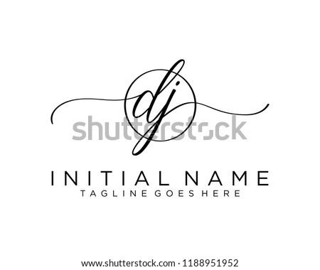 Initial D J handwriting logo vector. Hand lettering for designs Stock fotó ©